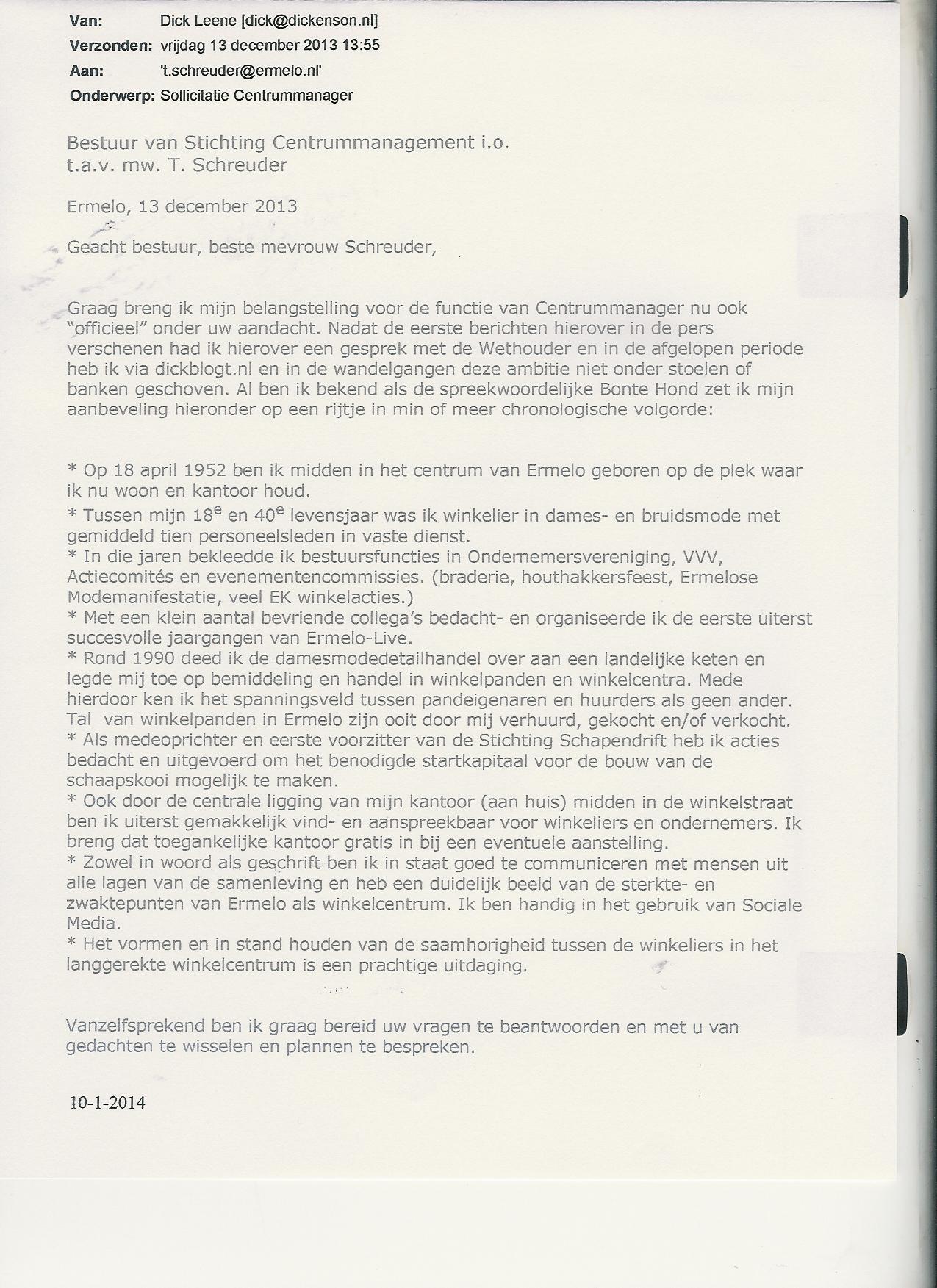 sollicitatie voor de functie van het helaasbericht | dickblogt sollicitatie voor de functie van